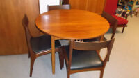 Vintage Teak Round Dining Table w Butterfly Leaf