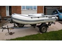 Quicksilver 2.7m air deck tender inflatable dinghy complete with Indespension road trailer
