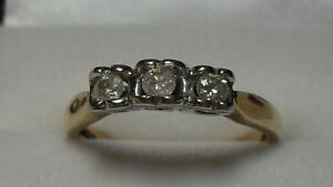 "10kt yellow gold ""Trinity"" Diamond Engagement Ring - Size 7.50"