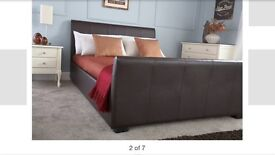 Brown faux leather Kingsize bed frame