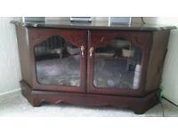 Glass door video television corner unit