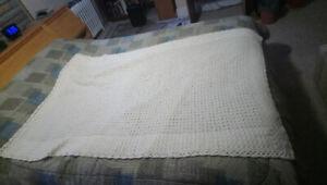 Handmade Crocheted Blanket (Cream/Off-White)