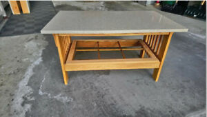 Coffee Table - Oak Base with Quartz Top - Mission Style Design.