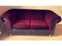 Chesterfield chenille croc effect studs 2 seater sofa VGC