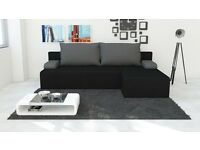 Brand New Corner Sofa Bed With Storage in BLACK with GREY Pillows FREE DELIVERY