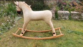Vintage Wooden Children's Rocking Horse Corduroy body