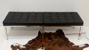 Florence Knoll 3-Seater Bench, Italian Black Leather