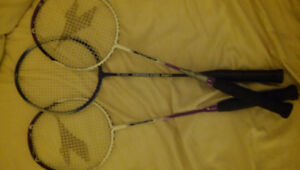 3 Badminton Racquets and some Birdies