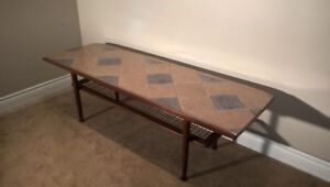 5ft Long Ceramic and Teak Coffee Table
