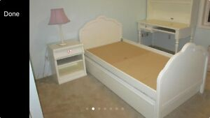 Girls White Twin Trundle Bed with Nightstand