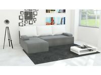 Brand New Corner Sofa Bed GREY with WHITE Pillows & Storage