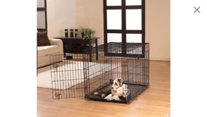 Large wire dog kennel.