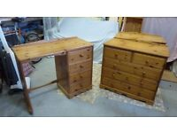 2 john lewis pine chest of drawers and 1 dressing table