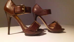 MICHAEL KORS Brown Leather Stiletto Sandals Gold Buckle