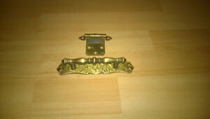 Brass antique door's handles and hinges