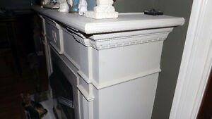 White stone fireplace Mantle and surround from Century Home. London Ontario image 5