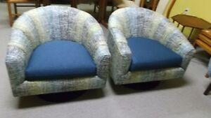 Milo Baughmann Style Swivel Tub Chairs Teak Mid Century Decor
