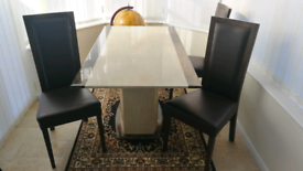 Marble Dining Table + 4 Chairs
