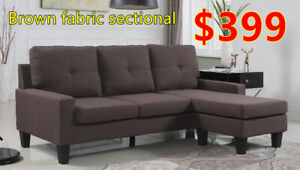 Brand new brown fabric sectional sofa winter sale!!