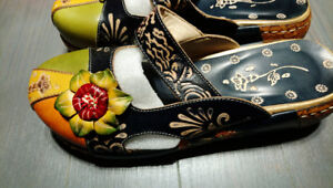 Colourful Leather Hollow Out Backless Flower Shoes