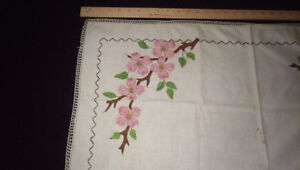 Vintage white tablecloth  hand needlework & crocheted lace - 27