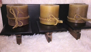 METAL & WOOD WALL CANDLE HOLDER