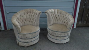 Designers Pair Vintage 1940s Hollywood Regency Tufted Tub Chairs