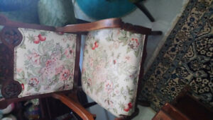 Antique  fabric & wood , rocking chair for sale