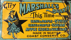 Original Sign 1900s Tin Marshalls Cane Sugar