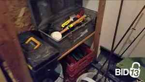 furniture, tools, fishing rods, tarps, and other
