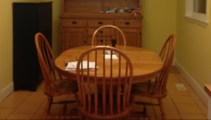Oak Dining set and 8 chairs