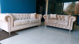 Champagne 3&2 Seater Chesterfield Sofa set