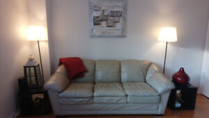 Beautiful Beige 3 seater faux leather sofa for sale