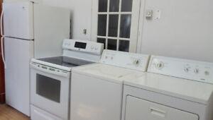 Réfrigérateur-cuisinière, laveuse-sécheuse