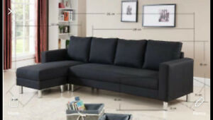 Sofa sectionnel reversible noir en tissu 4 places divan neuf