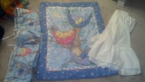 REDUCED-Crib Bedding Set (Blue) - 3 pieces