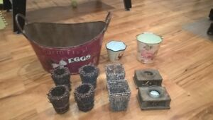 Retro candle holders, pots, bucket