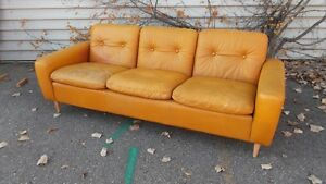 Mid Century Modern Vintage Danish Leather Sofa Teak Coffee Table