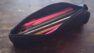 40 Assorted COLOURED PENCILS: Black Zip Carrying Case, Sharpened