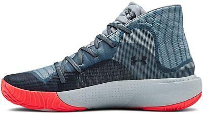 Under Armour Men's Spawn Mid Basketball Shoe, Ash Gray/Harbor Blue, 7 D(M) US