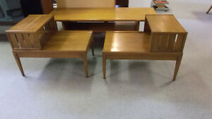 Pair Mid Century Two Tier End Tables, Danish Teak Coffee Table