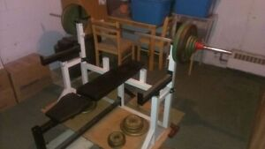 BENCH PRESS BENCH WITH GUARDS AND BAR WITH CLAMPS