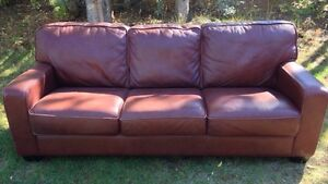 Rusty Brown cowhide leather couch