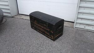 Antique Solid Wood Original Paint Trunk Beadboard Leather Handle