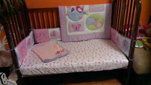 Crib set: comforter, bumper, sheet, crib skirt, blanket.