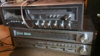 2 stereo receivers Toshiba SA-520 and Centrex w cassette player