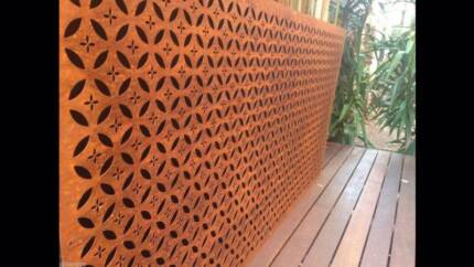 Metal laser cut rust Arabic feature wall panel privacy screen