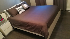 QUEEN BED IKEA MALM WITH POCKET COIL AND NIGHT STAND