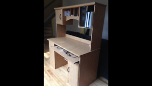 Computer desk with hutch and side bookshelf