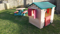 play house and kids picnic table for sale